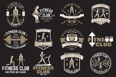 Fitness club badges. Vector. For fitness centers emblems, gym signs and others. Royalty Free Stock Photography