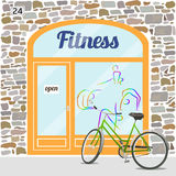 Fitness club building. Facade of stone. Fitness logo on the window. Bike at the fore. EPS10 Royalty Free Stock Photos