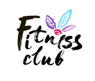 Fitness club concept logo design. Elegant hand lettering for your design. Modern brush calligraphic style. Vector. Fitness club concept logo design. Elegant hand royalty free illustration
