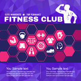 Fitness club cover is icon accessory Men with muscles and low poly background Royalty Free Stock Photography