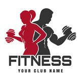 Fitness Club logo. Fitness Club emblem or logo design. Training man and woman silhouettes with dumbbell. Vector illustration royalty free illustration