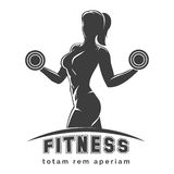 Fitness Club Emblem. Fitness club logo or emblem with woman silhouette. Woman holds dumbbells. Isolated on white background. Free font SF Collegiate and Raleway Stock Photography