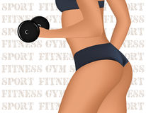 Fitness Club or Gym emblem with training muscled woman Stock Photos