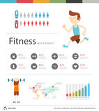 Fitness Club infographic flat vector illustration. Presentation Concept Stock Images