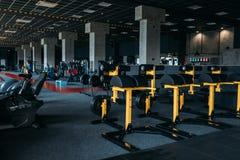 Fitness club interior. Gym nobody. Sport center equipment stock photo