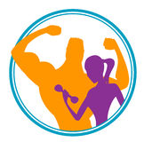 Fitness club logo or emblem with woman and man silhouettes. Stock Image