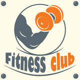 Fitness club logo with a silhouette of a man Royalty Free Stock Photo