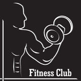 Fitness club logo with a silhouette of a man Royalty Free Stock Images