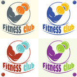 Fitness club logo with a silhouette of a man Royalty Free Stock Photos