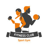 Fitness Club Logo. Template with male and female silhouettes with dumbbells vector illustration Stock Photography