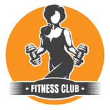 Fitness Club Logo with Training Athletic Woman. Fitness Club logo or Emblem. Woman holding dumbbells doing a work out. Vector illustration royalty free illustration