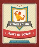 Fitness Club Poster. Fitness sport club poster with polygonal male bodybuilder figure vector illustration Royalty Free Stock Image