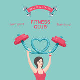 Fitness club poster. Young girl lifting a barbell. Design vector template Royalty Free Stock Photos