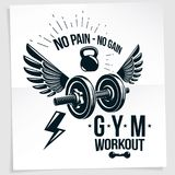 Fitness club vector advertising poster composed using disc weigh Stock Photos
