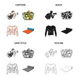 Fitness coach, fruit salad, male torso, gymnastic mat. Fitness set collection icons in cartoon black monochrome outline. Style vector symbol stock illustration Stock Image