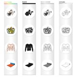 Fitness coach, fruit salad, male torso, gymnastic mat. Fitness set collection icons in cartoon black monochrome outline. Style vector symbol stock illustration Stock Photo