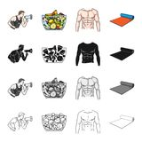 Fitness coach, fruit salad, male torso, gymnastic mat. Fitness set collection icons in cartoon black monochrome outline. Style vector symbol stock illustration Royalty Free Stock Images
