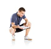 Fitness coach. Professional fitness coach isolated on white background Stock Photos