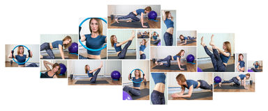Fitness Collage. Woman exercising collage - yoga,fitness,pilates stock photography