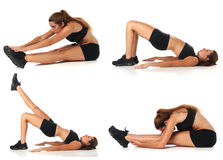 Fitness collage. Young woman doing exercise. And stretching over white royalty free stock photography