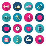Fitness color icons Royalty Free Stock Photography