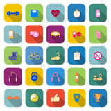 Fitness color icons with long shadow Royalty Free Stock Images