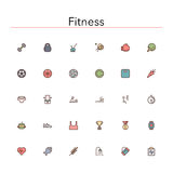 Fitness Colored Line Icons. Fitness and a healthy lifestyle colored line icons set. Vector illustration Royalty Free Stock Image