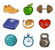 Fitness colored sketch icons Royalty Free Stock Photography