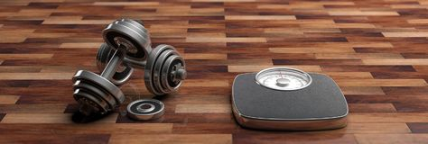 Fitness concept. Bathroom scale and dumbbells isolated on wooden floor, banner. 3d illustration. Fitness concept. Bathroom scale and dumbbells isolated on wooden Royalty Free Stock Photos