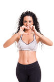 Fitness concept. A beautiful young woman exercising - fitness concept Stock Photo