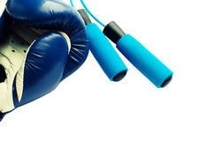 Fitness concept - boxing glove with skipping rope Stock Photos