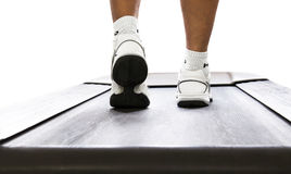 Fitness concept. Close up of man on treadmill as fitness concept Royalty Free Stock Photography