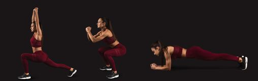 Fitness concept collage. Athletic woman doing exercises on dark background, fitness concept, collage stock image