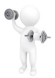 Fitness concept. 3d person with dumbbells Royalty Free Stock Photos
