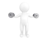 Fitness concept. 3d person with dumbbells Stock Photography