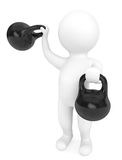 Fitness concept. 3d person with kettlebells. On a white background Royalty Free Stock Photos