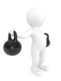 Fitness concept. 3d person with kettlebells. On a white background Royalty Free Stock Images