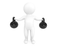 Fitness concept. 3d person with kettlebells. On a white background Royalty Free Stock Photo