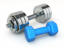 Fitness concept.Dumbbell weights Stock Image