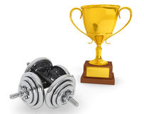 Fitness Concept. Dumbbells with Trophy Royalty Free Stock Image