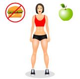Fitness concept with fit woman in sportswear. Muscular Models cartoon girl. Useful and harmful food. Vector illustration Stock Images