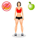 Fitness concept with fit woman in sportswear. Muscular Models cartoon girl. Useful and harmful food. Vector illustration. Isolated on white background Royalty Free Stock Photos