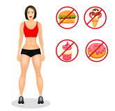 Fitness concept with fit woman in sportswear. Muscular Models cartoon girl. Useful and harmful food. Vector illustration. Isolated on white background Royalty Free Stock Images