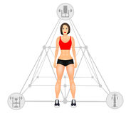 Fitness concept with fit woman in sportswear. Muscular Models cartoon girl. Woman with a sporty physique. Vector Stock Photo