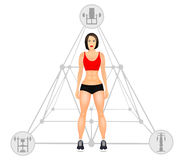 Fitness concept with fit woman in sportswear. Muscular Models cartoon girl. Woman with a sporty physique. Vector Royalty Free Stock Photo