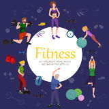Fitness concept flat Isolated vector illustration, active people Royalty Free Stock Photography
