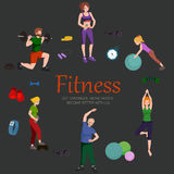 Fitness concept flat Isolated vector illustration, active people Stock Images