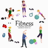 Fitness concept flat Isolated vector illustration, active people Royalty Free Stock Image
