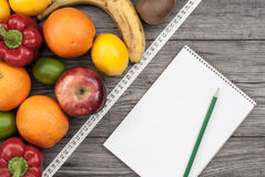 Fitness concept with fruit. Fitness motivation. Royalty Free Stock Image