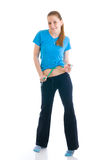 Fitness concept: the girl with centimeter Stock Photo